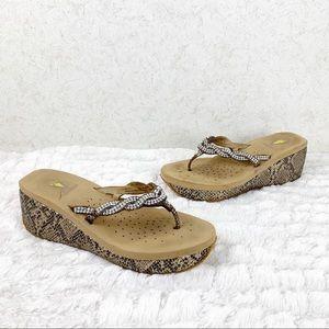 Volatile snake rhinestone thong platform sandals